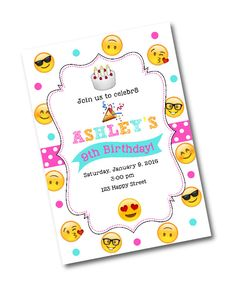 Emoji Birthday Party Invitation -Emoji birthday party -Emoji Party -CUSTOM DESIGN -Emojos -Smiley face emoji -Nerdy emoji -emoji invitation by CrystalScottDesigns on Etsy https://www.etsy.com/listing/261331421/emoji-birthday-party-invitation-emoji