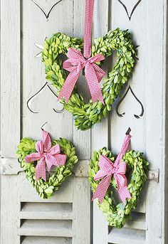 collection of heart shaped wreaths, would be beautiful hanging on window at Valentines Day