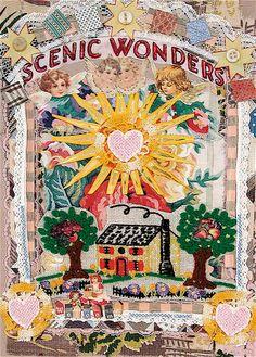 SCENIC WONDERS Folk Art Print from Original Collage  by mybonny,