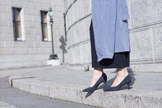 kitten heels H&m Trends, Chocker, Cropped Pants, Duster Coat, Kitten Heels, My Style, Jackets, Blue, Shoes