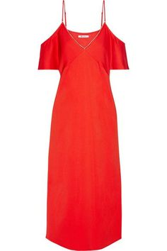7d7d85cde8 T by Alexander Wang - Cold-shoulder chain-trimmed stretch-crepe midi dress