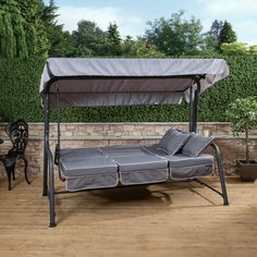 Turin 3 Seater Reclining Swing Seat With Luxury Grey Cushions