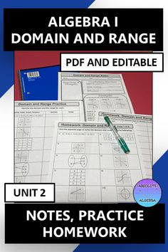"""*This resource is 100% editable* Teach your middle or Algebra students how find the domain and range from tables, graphs, and mappings. This resource includes fill-in-the-blank notes, """"I Try, You Try"""" practice, and homework. Just print & go by using the pdf or edit it in Powerpoint. If you don't like fill-in the blank notes, use the answer key and the blanks are filled in for you! The homework aligns with the practice problems. Answer key is included. #Domain #Range #Notes #Homework #Editable Math Activities, Teaching Resources, Teaching Math, Secondary Math, Math Stations, Fun Math, Math Lessons, Mathematics, Homework"""