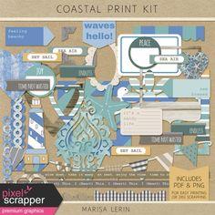 Coastal Print Kit | digital scrapbooking | hybrid scrapbooking, ocean, beach, vacation, holiday, project life
