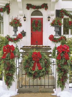 Christmas Cheer Wreath With Red Bow - Window Wreath (Corded) - Frontgate Outdoor Christmas Decorations Silver Christmas, Noel Christmas, Rustic Christmas, Christmas Lights, Traditional Christmas Decor, Antique Christmas, Christmas Quotes, Christmas Pictures, Christmas Window Decorations