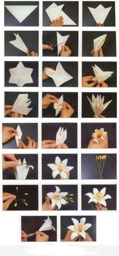 We've always wanted to build origami shapes, but it looked too hard to learn. Turns out we were wrong, we found these awesome origami shapes. Paper Flowers Diy, Handmade Flowers, Flower Crafts, Diy Paper, Fabric Flowers, Paper Crafts, Flower Diy, Craft Flowers, Paper Flowers How To Make