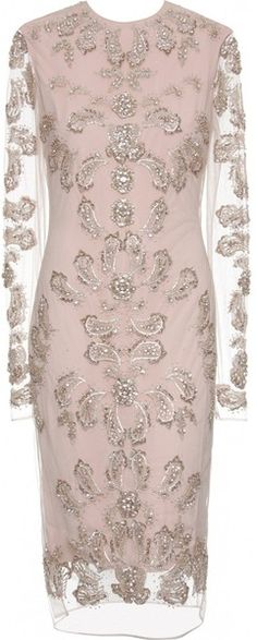 MARCHESA Embroidered Silk Dress