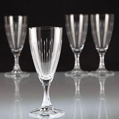 4 Vintage Sektgläser Sektglas Linien Strahlen Gravur Schliff ~ 50er 60er W6C