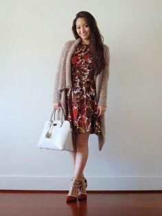Kim: Sensible Stylista Blog // Love the combination of fall textures and colors! Kim pairs her lux cardigan from Jane.com with a floral dress and darling heels. #veryjane