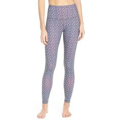 Zella 'Live-In' Slim Fit High Rise Leggings ($64) ❤ liked on Polyvore featuring activewear, activewear pants, grey graphite triangle print, zella sportswear, zella activewear, zella and slimming slip