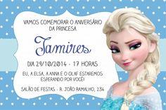 Convite Frozen Azul que eu adorei! Veja essa e outros convites infantis aqui.