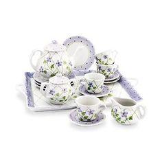 Children\'s Violet Flower and Lilac Polka Dot Porcelain Tea Set
