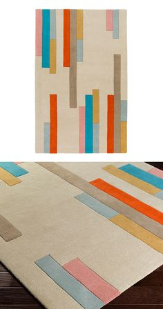 Add a subtle hint of modernity to any room with this Barred and Graphed Rug. Accented with strips of rust, salmon, teal, gold, and mint, this contemporary rug will add a pop of color under your dining ...  Find the Barred and Graphed Rug, as seen in the Make it Your Own Mid-Century Collection at http://dotandbo.com/collections/make-it-your-own-mid-century?utm_source=pinterest&utm_medium=organic&db_sku=115767