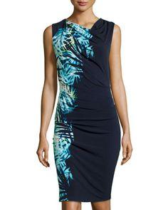 bee47d8fbec3 Asymmetric Tropic-Print Dress, Bright Blue by Tahari at Neiman Marcus Last  Call.
