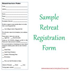 Planning a retreat? Check out this sample registration form at Women's Ministry Toolbox.