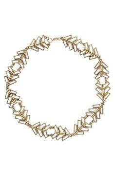Miss Selfridge Gold Cutout Collar Necklace