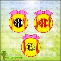 Monogram Softball with Bow Frame Base Design Digital Cut File Clipart Instant Download Full Color 300 dpi Jpeg Png SVG EPS DXF formats - pinned by pin4etsy.com