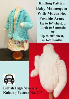 "Knitting Pattern for Baby Mannequin - Display your handmade baby clothes on a diy knitted mannequin with moveable, posable arms made with common materials. It's made very inexpensively from items you'll already have to hand – yarn, a cardboard tube, a yoghurt pot, pipe-cleaners and toy stuffing. 2 sizes in different patterns: Up to 16″ chest or birth to 3 months or up to 20"" chest, or 6 to 9 months. Designed by British High Sewciety"