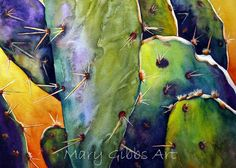 Art of Mary Gibbs Watercolor Succulents, Watercolor Cactus, Watercolor Leaves, Watercolor Paintings, Watercolors, Agaves, Watercolor Architecture, Desert Art, Southwest Art