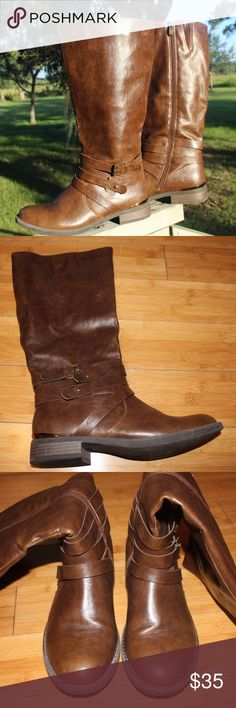 Brown Leather Boots The Limelight Mackenzie boots from Rack Room Flat heeled, leather boots that are super comfortable to wear gold crescent on the heal  leather straps around the ankle Shoes