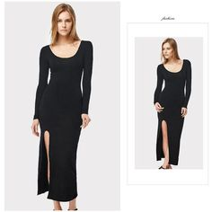 Ankle-length Wide O-neck Dress