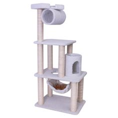 $90   Let your feline friend lounge and play on this wood-framed cat tree, featuring faux sheepskin lining and sisal-wrapped scratching posts.