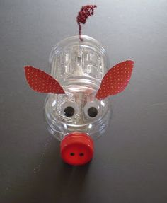 Plastic bottle piggy bank!