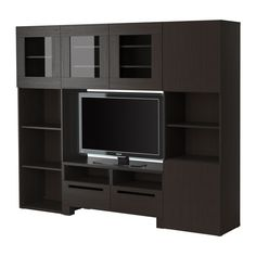 BESTÅ  TV/storage combination, black-brown  $404.00  Article Number: 098.874.34  Adjustable feet for stability on uneven floors. Back panel is inserted in grooves; easy to mount.