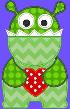 *i need to get this one too. Wonder what size it stitches out?*. Smiley Heart Monster Machine applique Design by TheAppliqueJunkie, $4.00