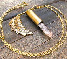 Crystal Bullet Necklace -- Topaz Feather Crystal Bullet Necklace SALE. $49.00, via Etsy.