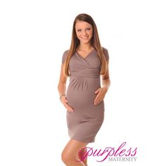 Elegant Maternity V-Neck Pregnancy Dress 8415 Cappuccino Classic and elegant v neckline and short sleeves. Made of soft and stretchy material with ruching under the bust that creates extra space for growing bump. Pregnant ladies will look stylish, elegant and feel comfortable in this figure flattering maternity dress. The dress is perfect all year round, ideal for work and special occasions.