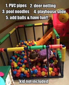 Put the final touches on your playroom by DIYing a ball pit. - Put the final touches on your playroom by DIYing a ball pit. Playhouse With Slide, Diy For Kids, Crafts For Kids, Kids Fun, Diy Crafts, Toy Rooms, Baby Kind, Fun Baby, Diy Projects To Try