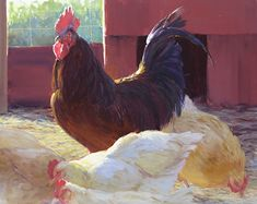 Casanova by Kathleen Dunphy Oil ~ 24 x 30 - painting of chickens and rooster