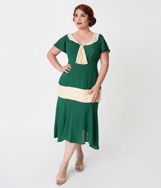 a54b365293903 Plus Size 1920s Green   Cream Wilshire Flapper Day Dress
