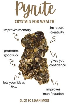 Pyrite is a fantastic crystal that attracts prosperity, luck, and money. Learn what other crystals you can pair with Pyrite to bring money and wealth your way. #crystals #spirituality Wiccan, Magick, Witchcraft, Pagan, Crystals For Luck, Crystals For Wealth, Healing Crystal Jewelry, Crystal Healing Stones, Stones And Crystals