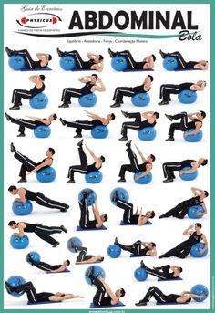 Balance Ball Poster of Different Exercises on Blue Balance Ball