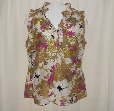 ANN TAYLOR LOFT Women Top/Blouse Sz S Small Floral Sleeveless Tunic #AnnTaylorLOFT #Tunic #Casual