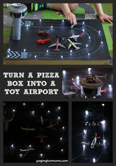 what a great diy gift for your littles! How to Turn a Pizza Box into a Toy Airport! With working landing strip lights! A fun upcycling project! Craft Activities For Kids, Toddler Activities, Crafts For Kids, Diy Pour Enfants, Pizza Boxes, Transportation Theme, Cardboard Crafts, Cardboard Play, Dramatic Play