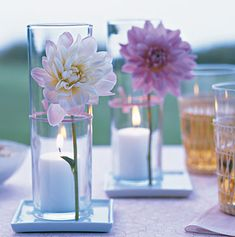 simple and pretty, single flower votive display