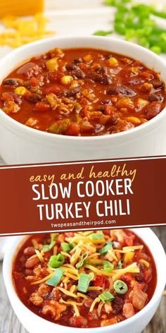 Slow Cooker Chili, Healthy Slow Cooker, Slow Cooker Recipes, Cooking Recipes, Healthy Recipes, Healthy Turkey Chili, Healthy Crockpot Soup Recipes, Paleo Crockpot Chili, Crock Pot Chili