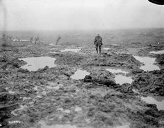"WWI Soldiers ""Mud and barbed wire through which the Canadians advanced during the Battle of Passchendaele,"" November William Rider-Rider / Canada. of National Defence / Library and Archives Canada / Canadian Soldiers, Canadian Army, Canadian History, Ww1 Soldiers, World War One, First World, Battle Of Passchendaele, Battle Of Ypres, Flanders Field"