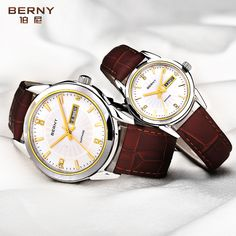 60.00$  Buy now - http://alib9w.shopchina.info/go.php?t=32800268250 - BERNY Couple Lovers Quartz Watches Women Men Pair Gold Leather Waterproof Date Clock Fashion Casual Analog Quartz Wrist Watches 60.00$ #magazine