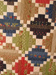 Quilt - free motion quilting Simple patchwork, very effective, Colchas Quilt, Patchwork Quilt, Jellyroll Quilts, Scrappy Quilts, Easy Quilts, Quilt Blocks, Quilt Baby, Édredons Cabin Log, Log Cabin Quilts