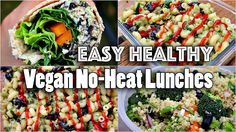 EASY VEGAN LUNCH RECIPES (NO HEAT)