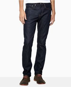 $68, Navy Jeans: Levi's 511 Slim Fit Dark Hollow Jeans. Sold by Macy's. Click for more info: https://lookastic.com/men/shop_items/464/redirect
