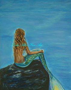 Mermaid Art Print Giclee Mermaid Painting by LeslieAllenFineArt, $15.00
