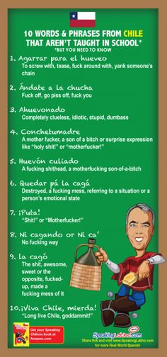 10 Words and Phrases From #Chile That Aren't Taught In School #DirtyWords #Spanish