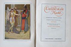 Zeldzame, complete uitgave van de Arabische vertellingen van Duizend en één Nacht.  Twee delen uit 1921, bewerkt door Henri Borel.