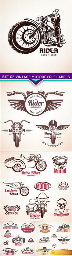 Set of vintage motorcycle labels, badges and design elements 5X EPS http://www.desirefx.me/set-of-vintage-motorcycle-labels-badges-and-design-elements-5x-eps/