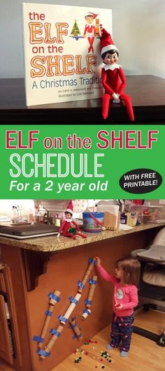 Elf on the Shelf Schedule with ideas for a 2 year old. Free #printable #elfontheshelf | spotofteadesigns.com